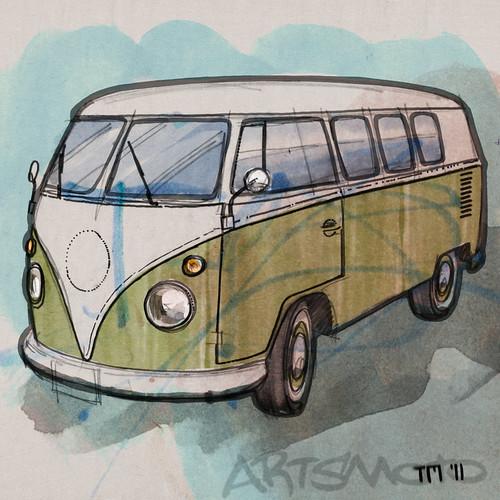 Sixties VW Transporter Sketch