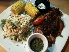 Spicy Grilled Chicken Served with Colesaw and Corn