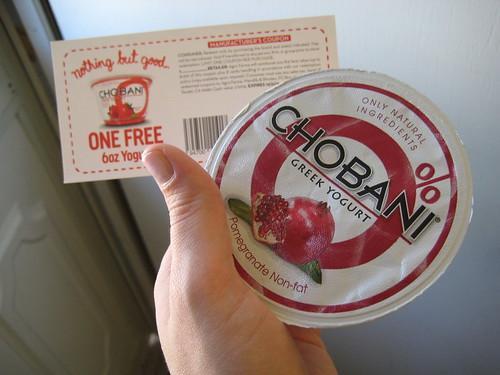 Chobani coupon and yogurt