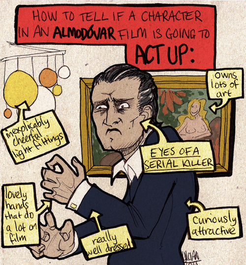 """A labelled diagram entitled """"How to tell if a character in an Almodovar film is going to act up"""".  It shows Antonio Banderas as the protagonist from The Skin I Live In, with deep-set, mad eyes and beautiful hands, wearing a suit.  In the background, there is a groovy light fitting and a luxurious painting.  The diagram is labelled with ways in which to tell if he is about to kick off.  The labels are, """"Inexplicably cheerful light fittings"""", """"owns lots of paintings"""", """"curiously attractive"""", """"very well-dressed"""", """"lovely hands that do a lot on film"""", and (in caps), """"EYES OF A SERIAL KILLER.""""  The whole image is a hand-drawn cartoon-style picture on textured card with fun, bright colours."""