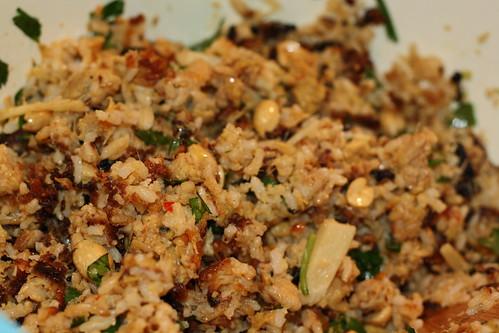 Nem Khao (Laotian Fried Riceball Salad)