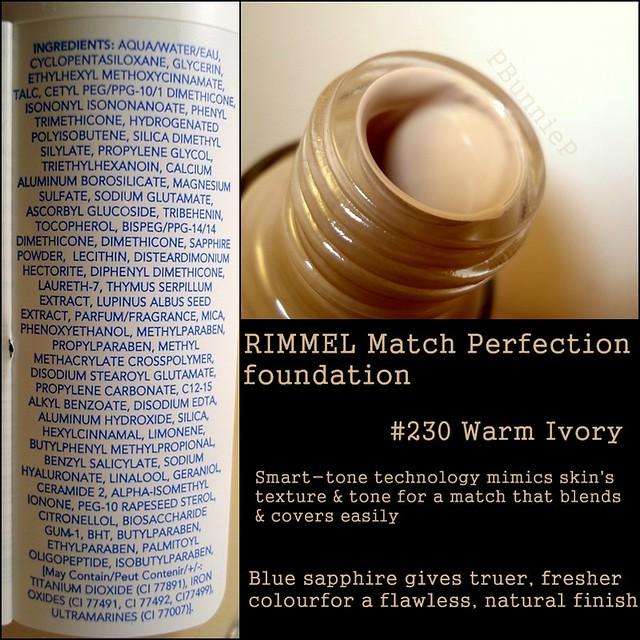 RIMMEL Match Perfection Ingredients