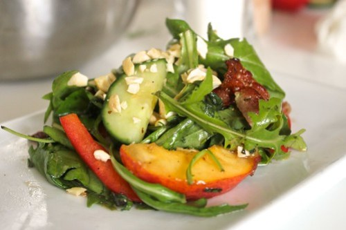 Green Salad with Bacon & Peaches
