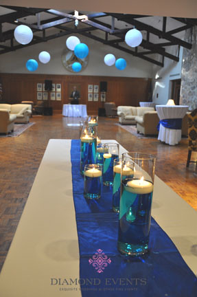 Floating candles in blue water
