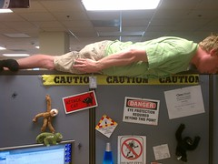 Planking on top of my cubicle at the office #p...