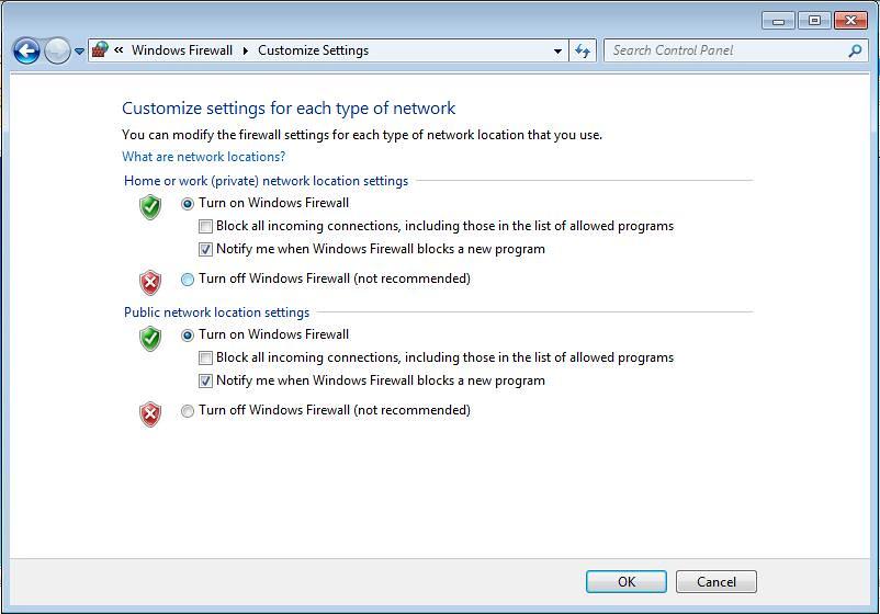 Disabling Windows 7 Firewall