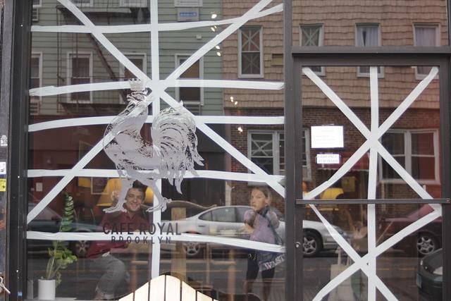 Taped-up windows, Cafe Royal