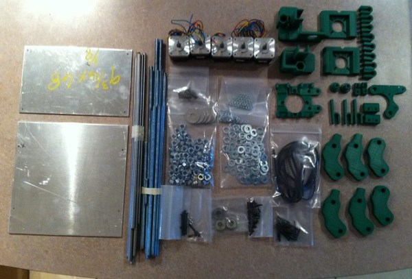 Most of the hardware (minus electronics) to assemble a Prusa mendel 3D printer