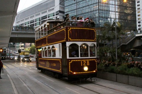 Open top Hong Kong tram #128 in Admiralty
