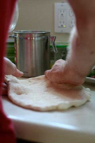 Joe rolling out dough