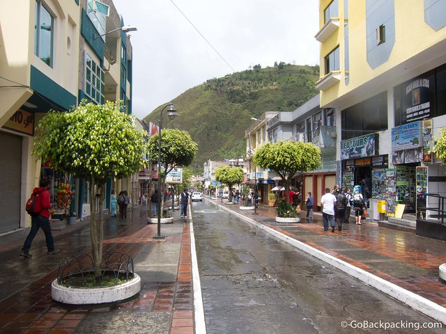 The main street in Banos, Ecuador