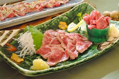 seared ribeye and beef throat