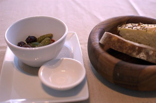 Olives, cornichons, bread