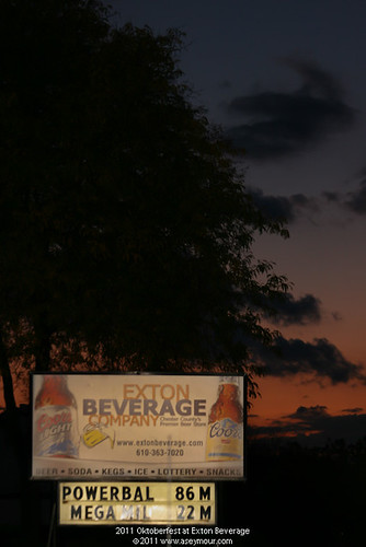 Exton Beverage sign at sunset