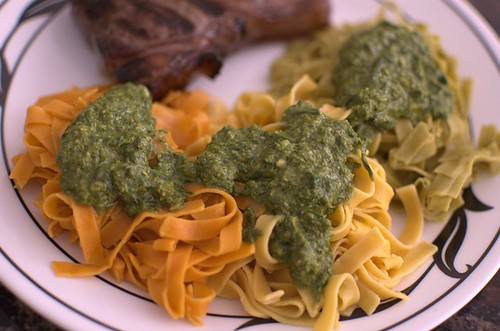 Paleo Pasta, pesto & steak