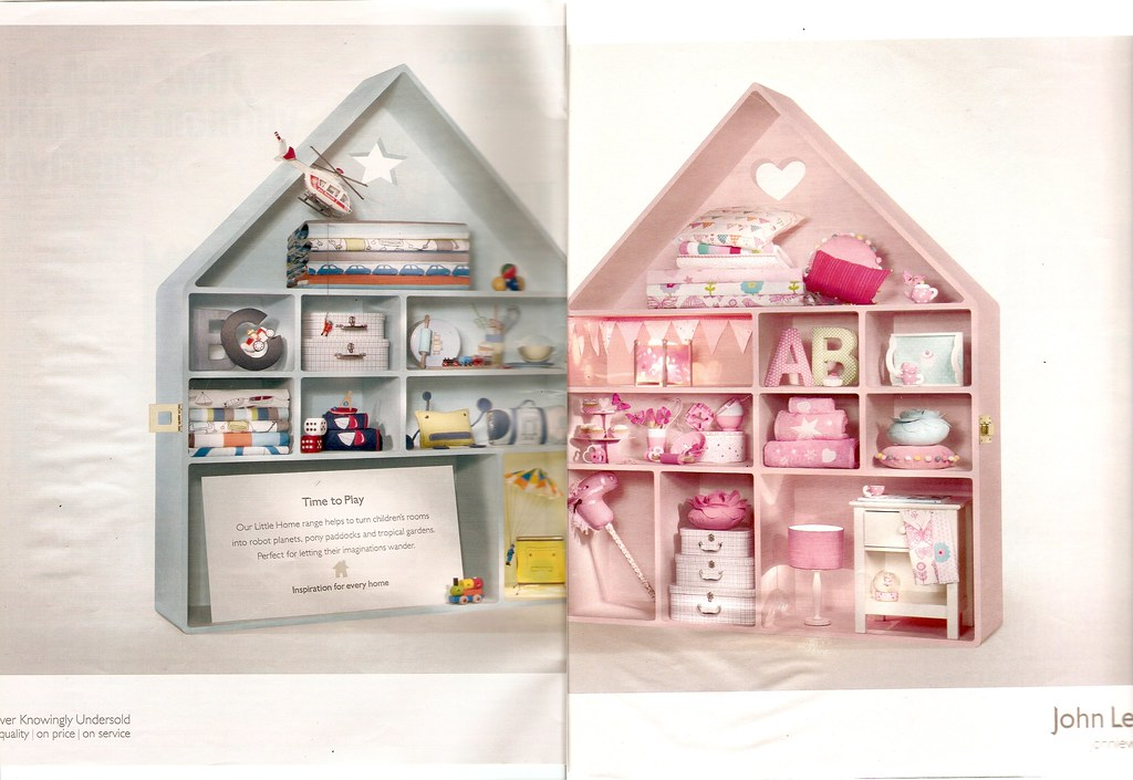 John Lewis advert showing two halves of a dolls house, one in blue filled with stereotypical boys' toys, the other in pink filled with stereotypical girls' toys.