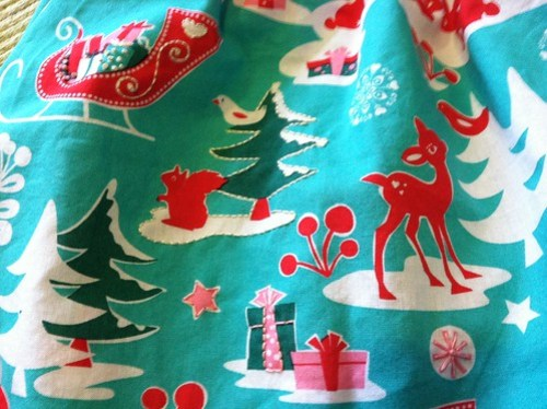 holiday play skirt (close up of embroidery)