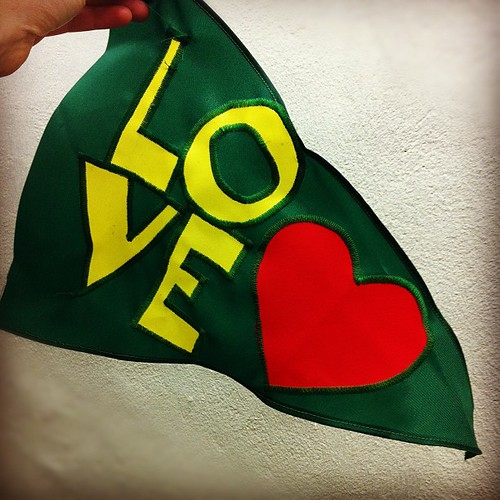 I just made a ripstop nylon LOVE flag for our #cargobike that will be done this week!!! by rebourne.etsy.com