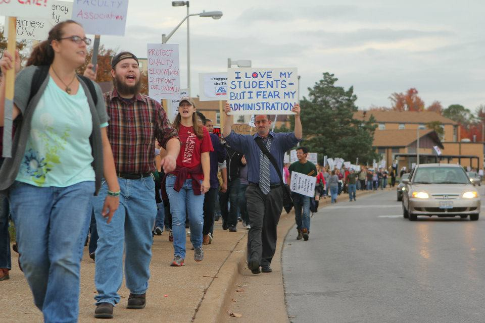 There is no end in sight to the picket line, as the student rally marches down Lincoln Drive.