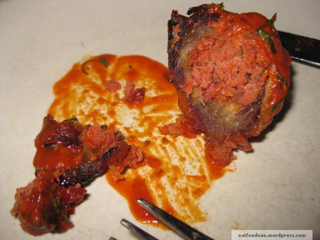 Interior of Chorizo stuffed dates
