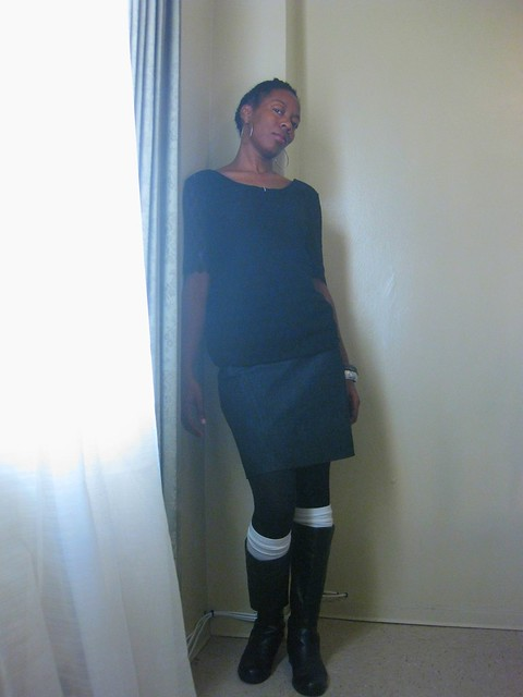 What I Wore :: 10.6.11Metal ZIP Denim Skirt & Black Lace BackTee