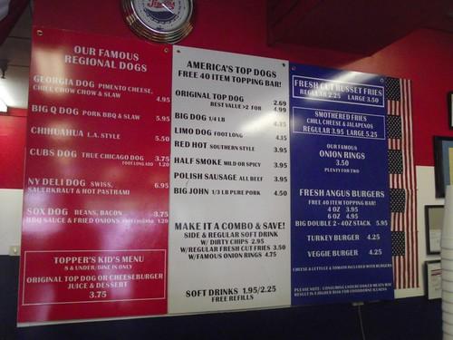 hot dog menu - america's top dog