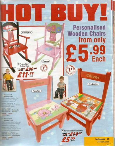 Catalogue pictures of chairs - red with cars etc for boys, pink with fairy princess nonsense for girls.