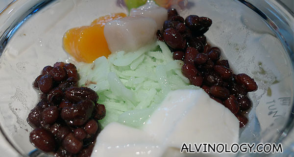 Award-winning Taiwan-style Red Beans over Shaved Coconut Ice and Yam Cubes