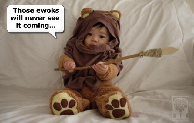 Baby dressed as an ewok!