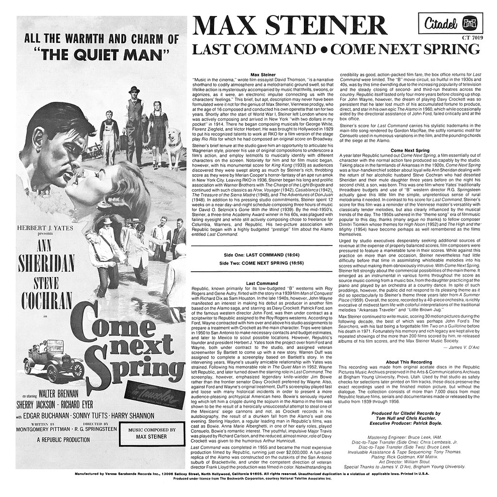 Max Steiner - The Last Command / Come Next Spring