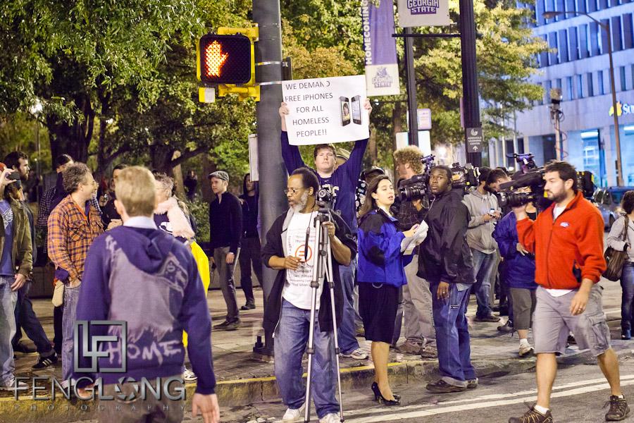 We Demand Free iPhones For All Homeless People!!   Occupy Atlanta Monday Night 10/10/11 #OccupyAtlanta #OccupyWallStreet