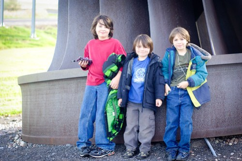 the boys in front of the turbine