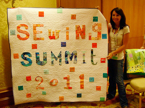 Erin and her sewing summit quilt