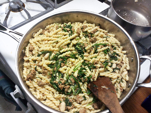 pasta with sausage and bitter greens