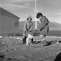 Two children playing with a dog
