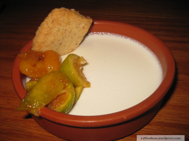White chocolate panna cotta with maple figs and walnut shortbread