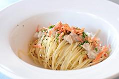 angel hair pasta topped with kombu and Sakura ebi. Saveur, Ali Baba Eating House, East Coast Road, Joo Chiat