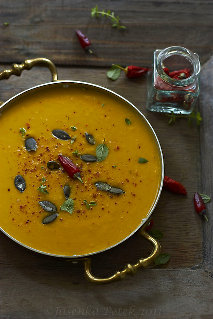 Roast pumpkin, coconut and chilli soup