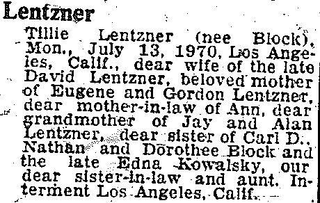 Tillie Lentzner, f15 Jul 1970, p2C