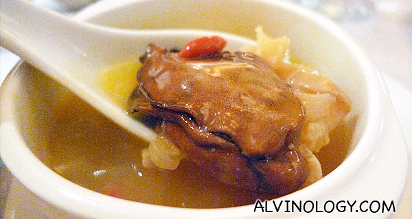 Abalone soup, filled with other goodies like the dried oyster in the picture