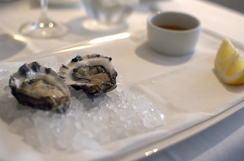 Freshly shucked oysters, ponzu dressing