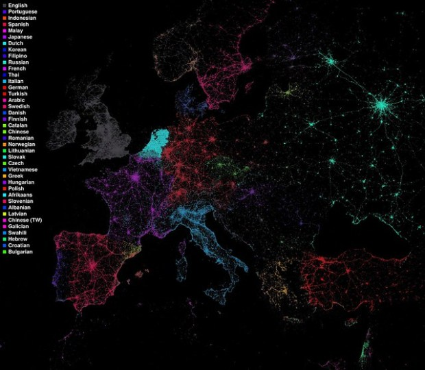 Language communities of Twitter (European detail)