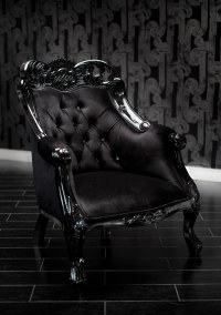 4009 BLACK VELVET BAROQUE TUFTED CHAIR WITH SWAROVSKI CRYSTALS