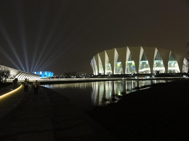 Shanghai Oriental Sports Center at night