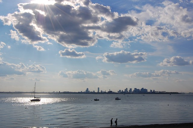 Boston + beach (view from Spectacle Island)