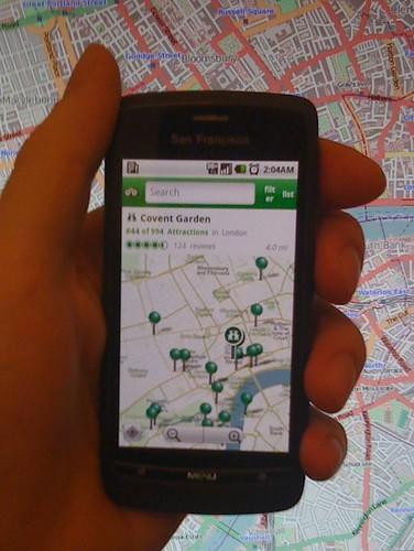 TripAdvisor Android app showing OpenStreetMap