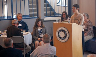 Anita Bernhardt of the Maine Department of Education speaks at the start of the 2012 Maine STEM Summit.
