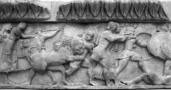 Battle of the giants against the gods. Detail Relief (525 BCE) from the north frieze of the Siphnian treasury, Delphi, photographer unknown