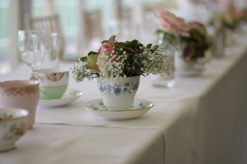 Vintage Wedding Top Table Flowers