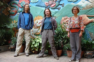 I, Sergey and Olga in Tibet Guest House